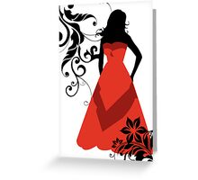 maid of honor in red Greeting Card