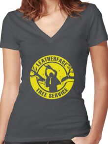 Leatherface Tree Service Women's Fitted V-Neck T-Shirt