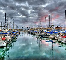 Boat Harbor Stormy Sunset - Oceanside, California by Christy Woodrow