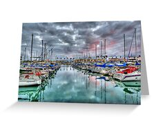 Boat Harbor Stormy Sunset - Oceanside, California Greeting Card