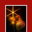 Christmas card with baubles by Cheryl Hall