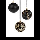 Christmas card with black baubles by Cheryl Hall