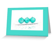 Christmas card with blue baubles Greeting Card