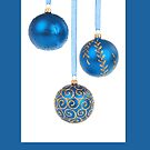 Christmas card with blue baubles by Cheryl Hall