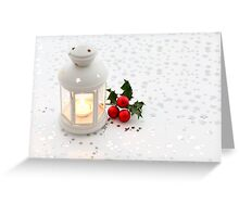Christmas card with lantern and stars Greeting Card