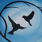 Pale and bright blue painting of two birds and a branch by cathyjacobs