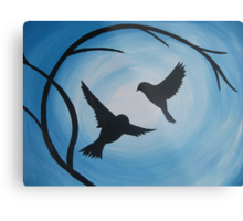 Pale and bright blue painting of two birds and a branch Metal Print