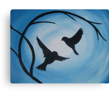 Pale and bright blue painting of two birds and a branch Canvas Print