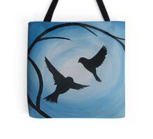 Pale and bright blue painting of two birds and a branch Tote Bag