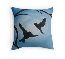 Pale and bright blue painting of two birds and a branch Throw Pillow