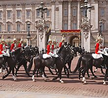 The household cavalry pass Buckingham Palace ahead of Trooping The Colour by Keith Larby