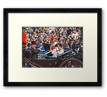 Prince Andrew with his daughters Beatrice & Eugenie returning from Trooping The Colour Framed Print