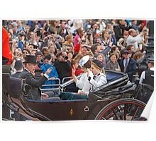 Prince Andrew with his daughters Beatrice & Eugenie returning from Trooping The Colour Poster