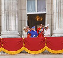 The Queen, Prince Charles, Camilla, Prince William & Kate on the balcony after Trooping The Colour by Keith Larby