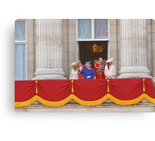 The Queen, Prince Charles, Camilla, Prince William & Kate on the balcony after Trooping The Colour Canvas Print