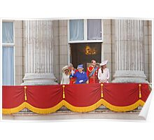 The Queen, Prince Charles, Camilla, Prince William & Kate on the balcony after Trooping The Colour Poster