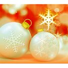 Christmas card with white baubles by Cheryl Hall
