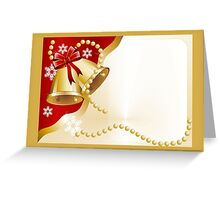 Christmas card with gold bells and pearls Greeting Card