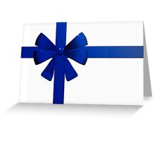 Christmas card with blue ribbon Greeting Card