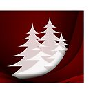 Christmas card with white Christmas trees by Cheryl Hall