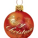 Christmas card with Merry Christmas bauble by Cheryl Hall