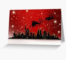 Christmas card with Santa in sleigh Greeting Card