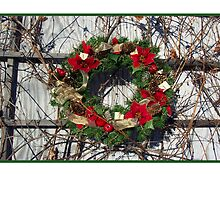 Christmas card with Christmas wreath by Cheryl Hall