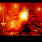 Christmas card with Christmas trees by Cheryl Hall