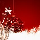Christmas card with red bauble and snowflakes by Cheryl Hall