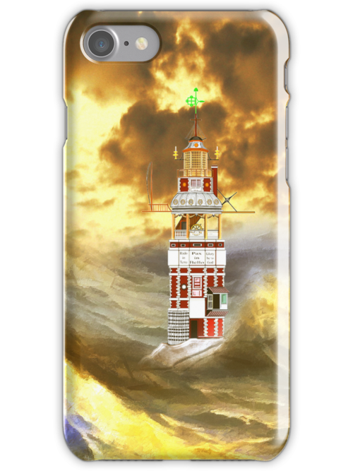 Henry Winstanley's Eddystone Lighthouse in a Stormy Sea  iPhone case by Dennis Melling