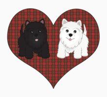 Scottie Dogs in a Tartan Heart One Piece - Short Sleeve