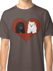 Scottie Dogs in a Tartan Heart Classic T-Shirt
