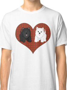 Scottie Dogs in a Tartan Heart Classic T-Shirt