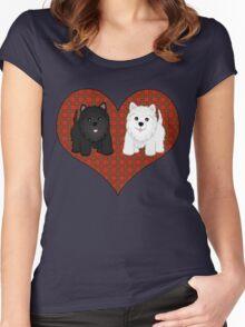 Scottie Dogs in a Tartan Heart Women's Fitted Scoop T-Shirt
