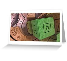 Traveling Cubes Greeting Card