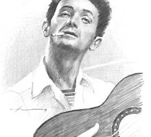 Woody Guthrie drawing by Mike Theuer
