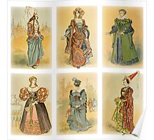 Vintage French fashion (Middle ages) Poster