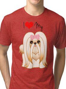 Cute Little Shih Tzu Puppy Dog Tri-blend T-Shirt