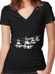Huey Helicopter Team Sticker/Decal White v1  Women's Fitted V-Neck T-Shirt