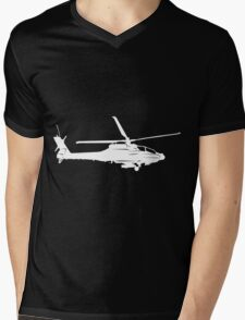 Large Detailed Apache AH-64 Helicopter White v1 Mens V-Neck T-Shirt
