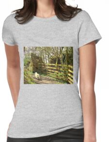 Follow That White Dog ! Womens Fitted T-Shirt