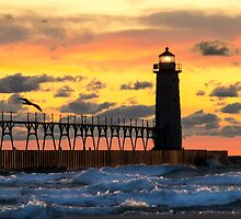 Manistee Michigan Lighthouse at Sunset by Mike Koenig