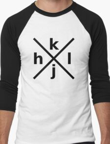 hjkl for Hardcore Vi/Vim Hackers - Black Font Men's Baseball ¾ T-Shirt