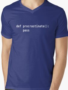 def procrastinate pass - Programmer Humor for Pythonistas White Font Mens V-Neck T-Shirt