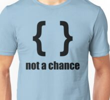 Braces not a chance - Humorous Design for Python Programmers Black Font Unisex T-Shirt