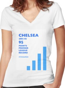 95 Points Premier League Record - Chelsea 2004/05 Women's Fitted V-Neck T-Shirt