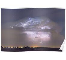 Cumulonimbus Lightning Storm and Star Trails Above Poster