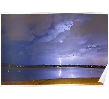 Lake View Lightning Thunderstorm Poster