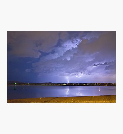 Lake View Lightning Thunderstorm Photographic Print