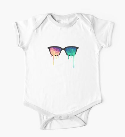Psychedelic Nerd Glasses with Melting LSD/Trippy Color Triangles One Piece - Short Sleeve